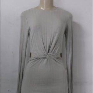 Silence & Noise Grey Front Knot Dress Sz M NWT